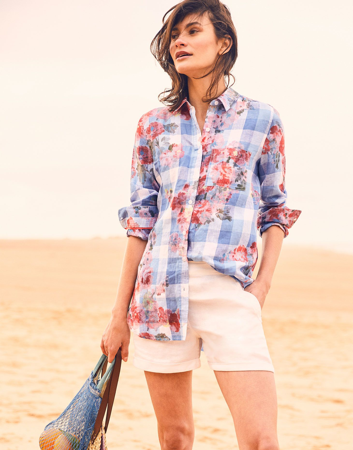 8fa343d38 Hover to zoom. Joules US Jeanne Print Womens Longline Linen Shirt BLUE  GINGHAM FLORAL