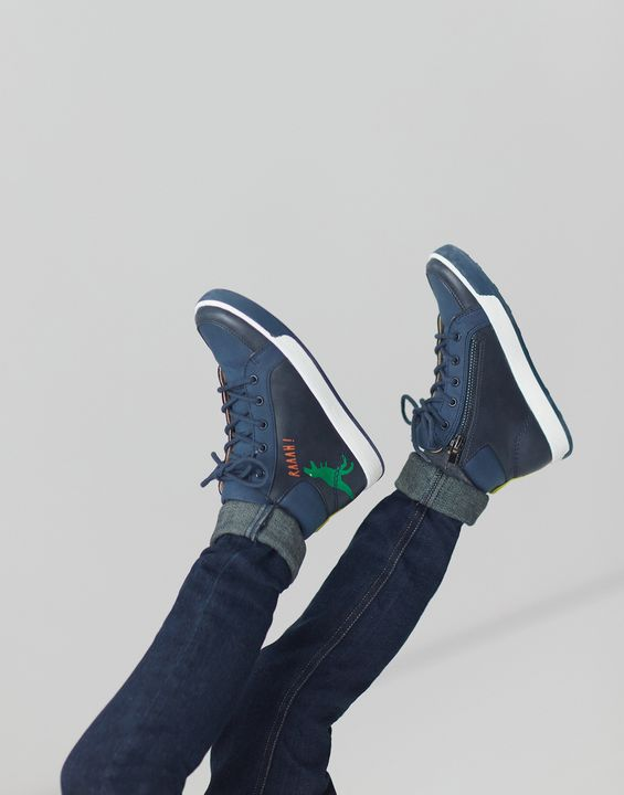 Joules Boys Runaround High Top Lace Up Sneakers - French Navy