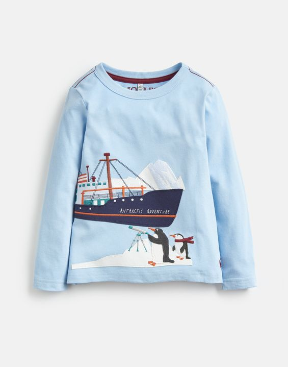 Joules Boys Jack Applique T Shirt 3 12Yr in RED SNOW GOOD