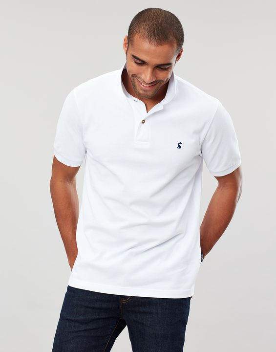 Joules Mens Woody Classic Fit Polo Shirt - White