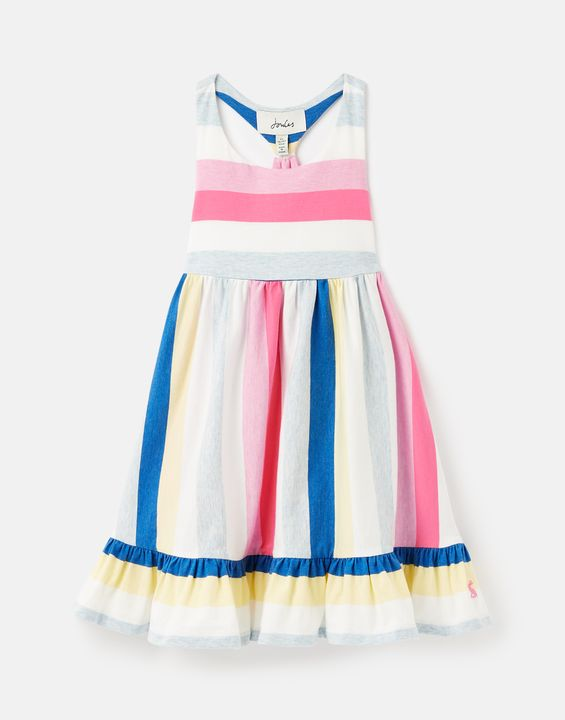 Joules Girls Juno Tiered Jersey Dress 1-12 Years - Multistrp