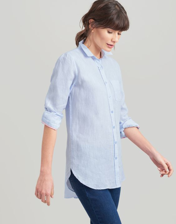 0c81a441e9 Jeanne Plain Long Line Linen Shirt