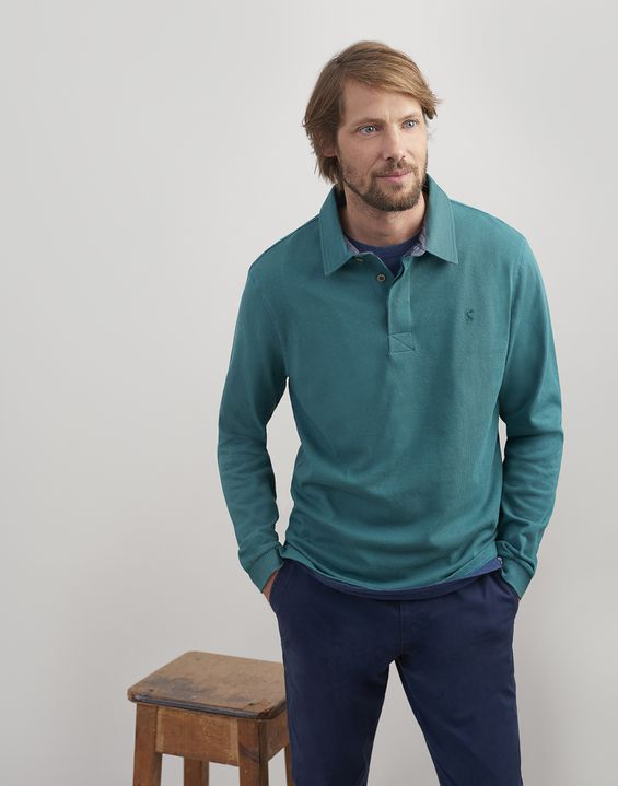 Joules UK RUCKBURY Mens Long Sleeve Plain  Rugby Shirt TEAL