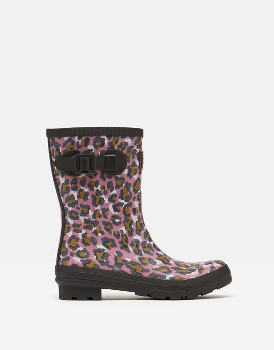 Joules Womens Molly Mid Height Printed Rain Boots - Pink Leopard