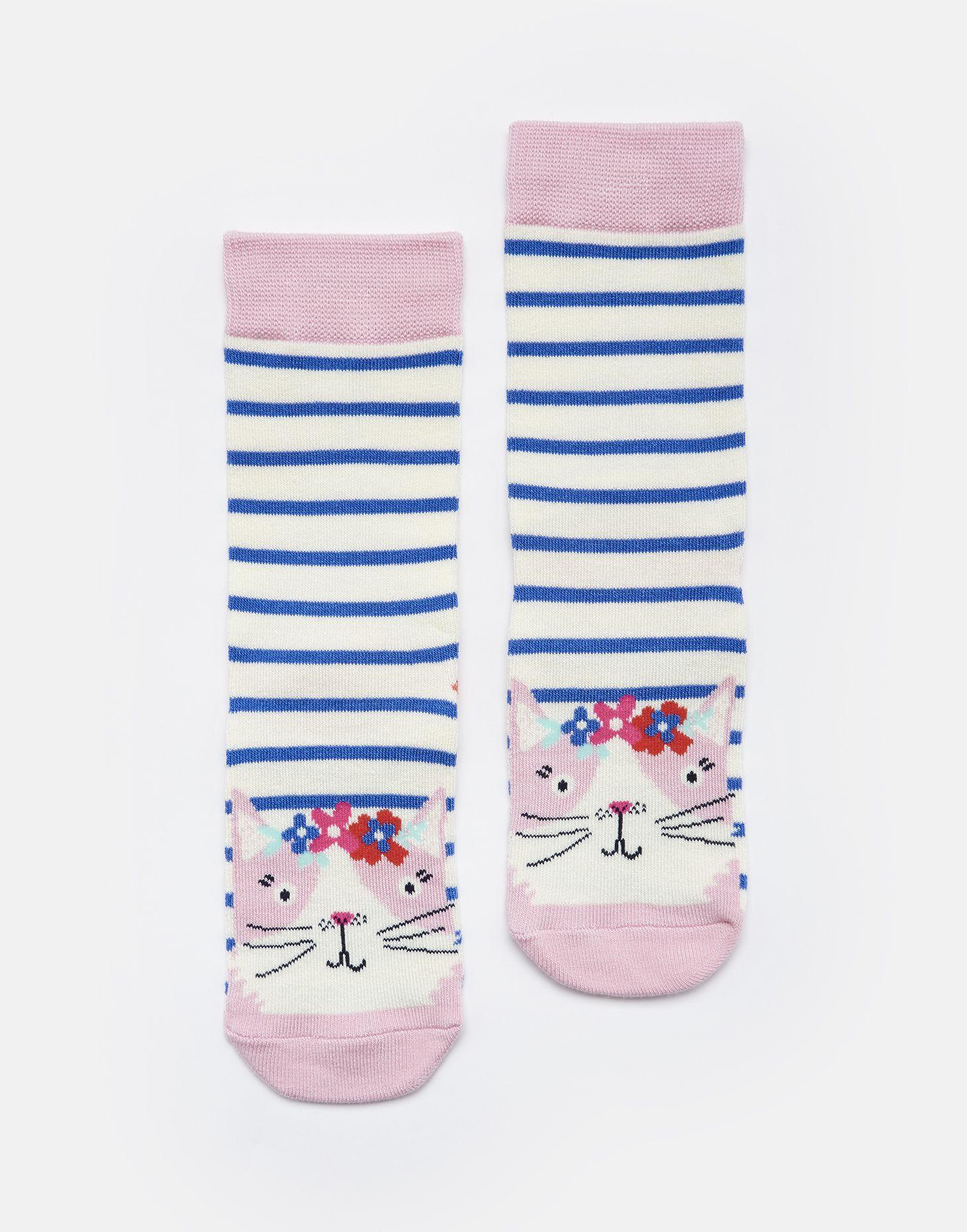 Joules Girls Neat Feet Character Socks in YELLOW FLAMINGO