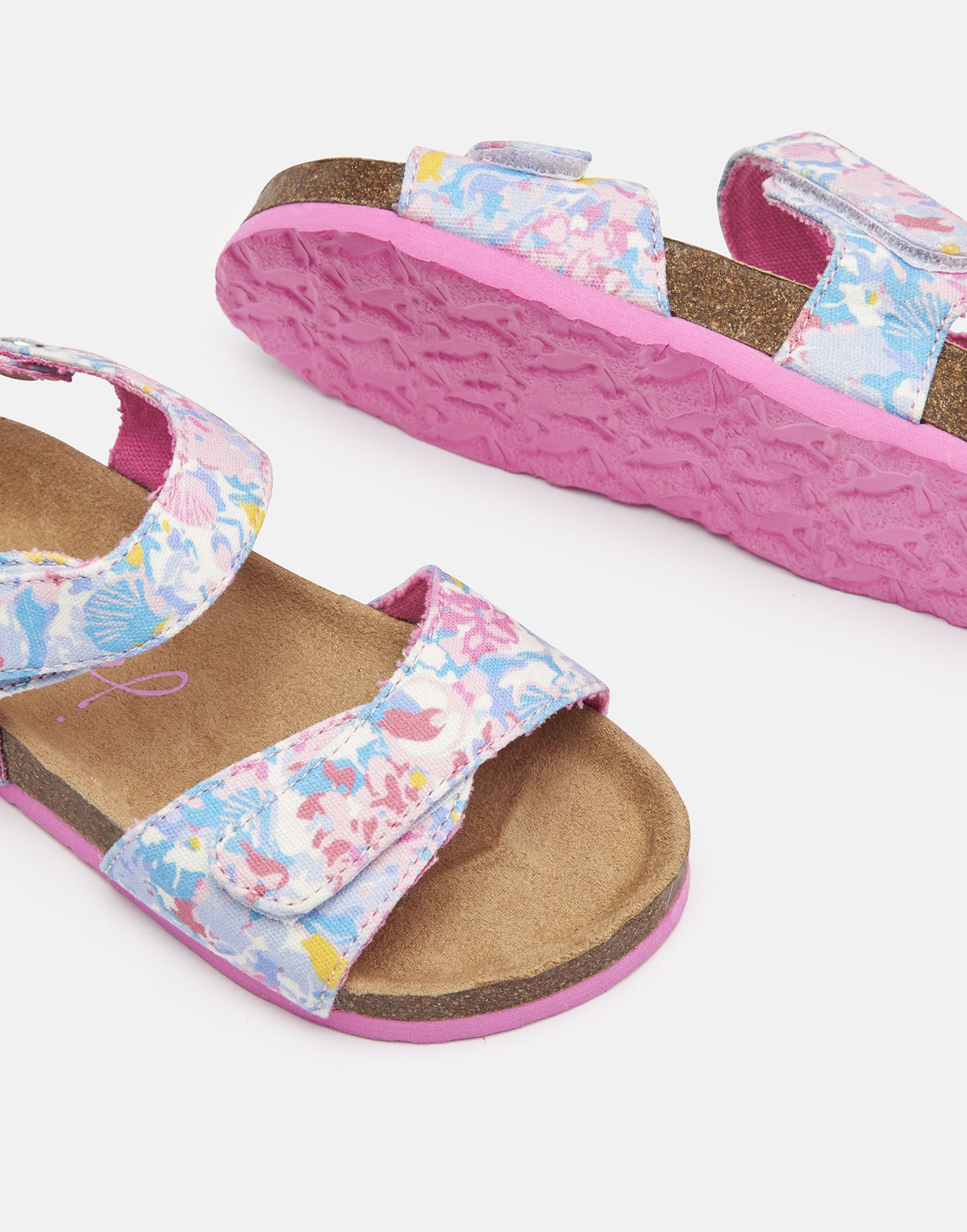 Joules Girls Tippy Toes Strapped Sandal in WHITE MERMAID FLORAL