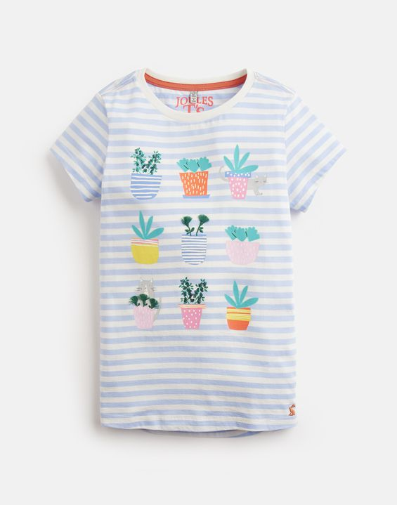 Joules UK Astra Older Girls Jersey Applique Top 3-12 Yr BLUE STRIPE CACTI