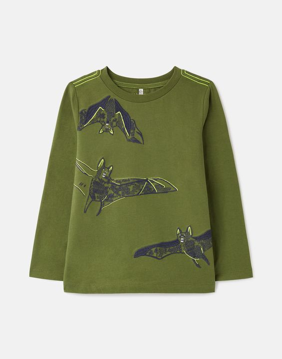Joules Boys Jack Long Sleeve T-Shirt 1-12 Years - Green Bats