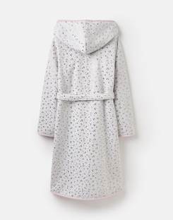 Joules US Ida Womens Jersey Robe With Fluffy Inner GREY STAR