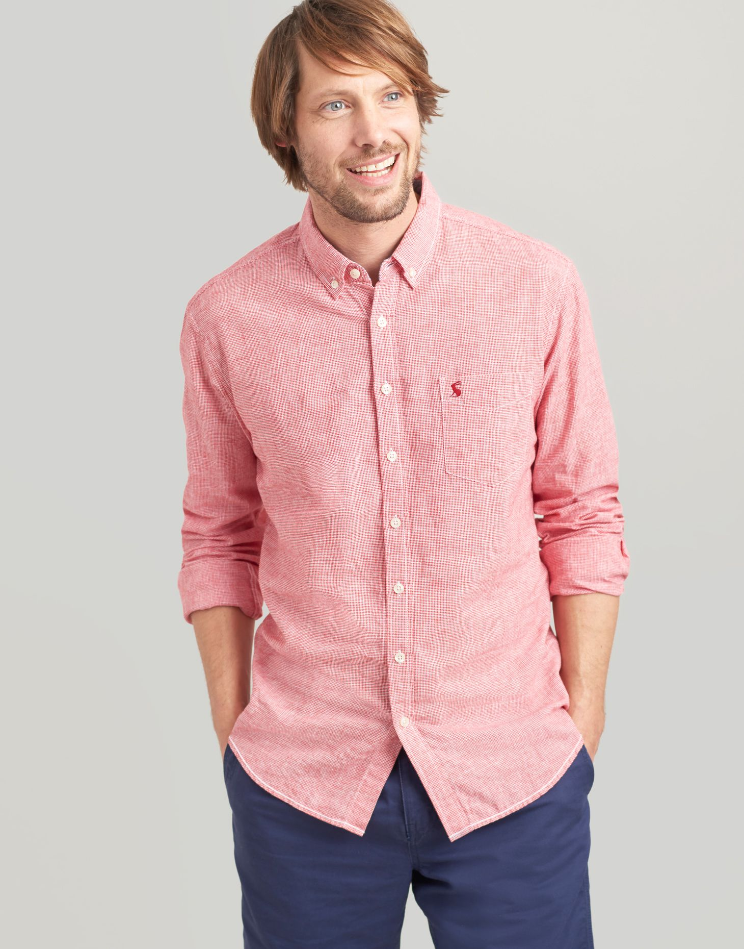 Joules 204581 Long Sleeve Classic Fit Shirt in WASHED PINK