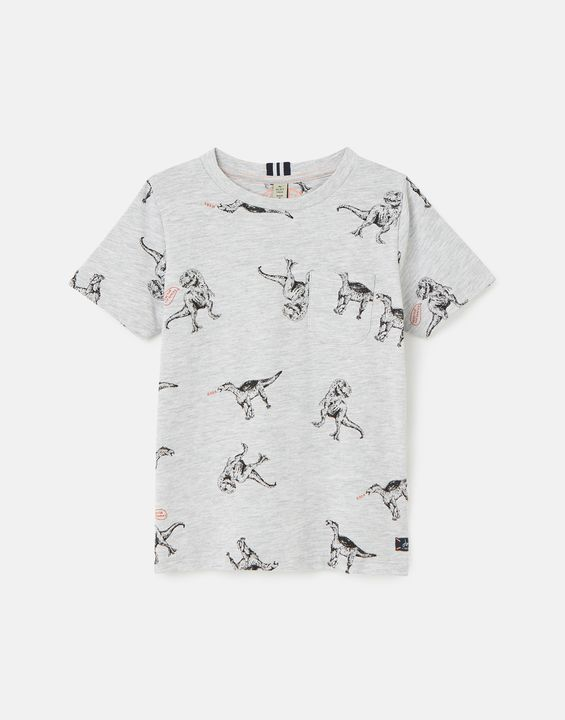 Joules Boys Olly Printed T-Shirt 1-12 Years - Grey Dino
