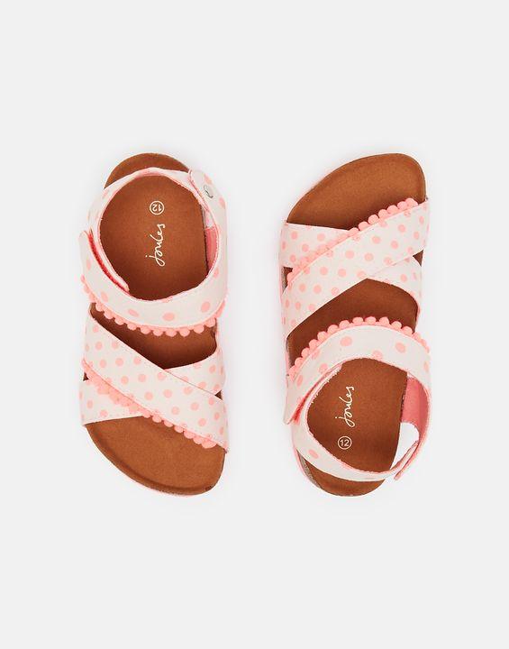 Joules Girls Tessie Cross Strap Sandals - Pink Medium Spot