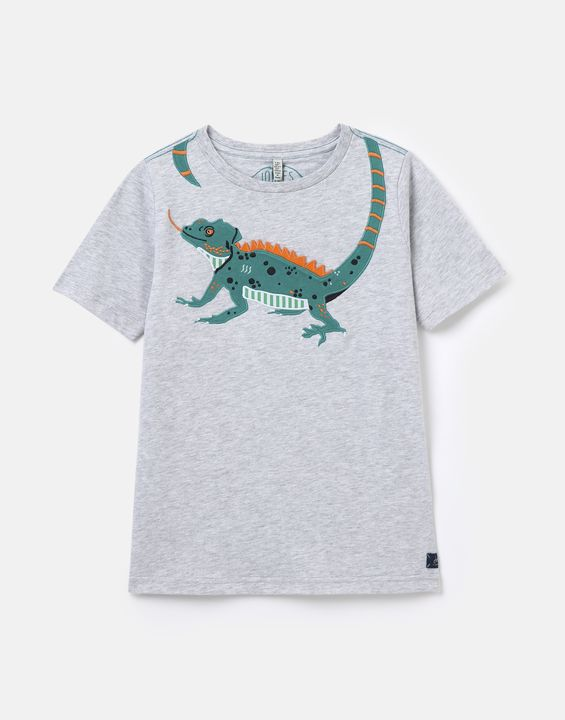 Joules Boys Archie Applique T-Shirt 1-12 Years - Grey Lizard