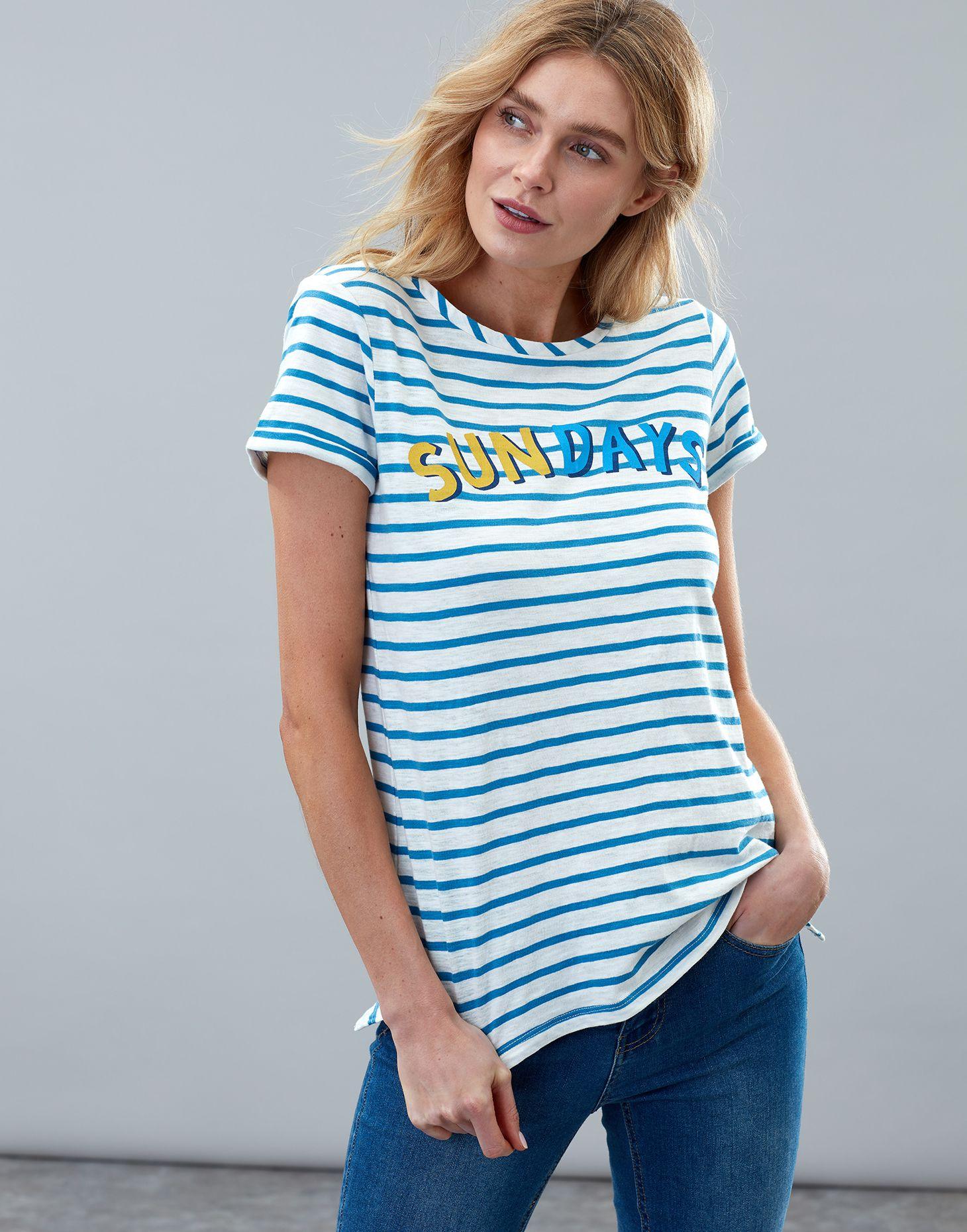 14cd60e8adce28 Nessa print CREAM BLUE STRIPE Lightweight Jersey T-Shirt | Joules UK