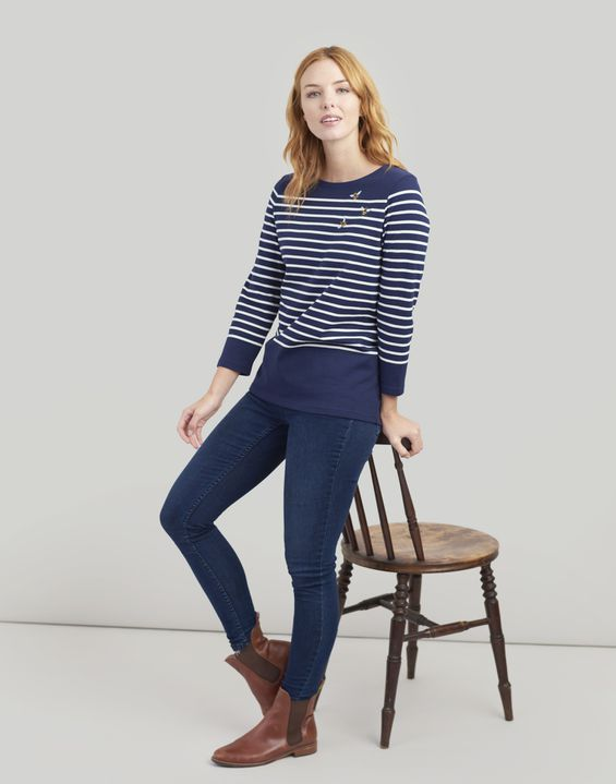 Joules US Harbour Embroidered Womens Jersey Top NAVY CREAM STRIPE