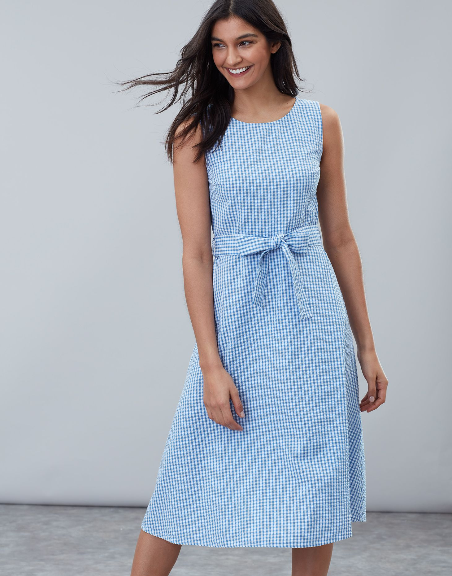 af1f8b59e Fiona BLUE GINGHAM Sleeveless Woven Dress With Tie Detail | Joules US