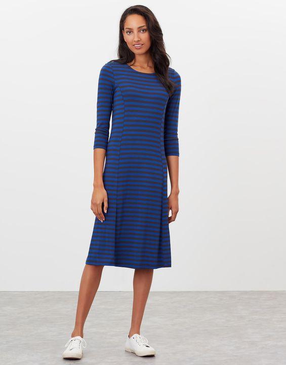 Joules Womens Casey Jersey Dress - Blue Stripe