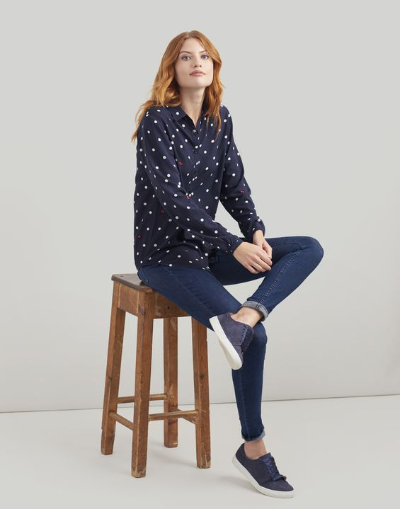 Tom Joule Kleider - Joules Germany Elvina Womens Weiche, langärmlige Bluse NAVY SPOT LADYBIRDS