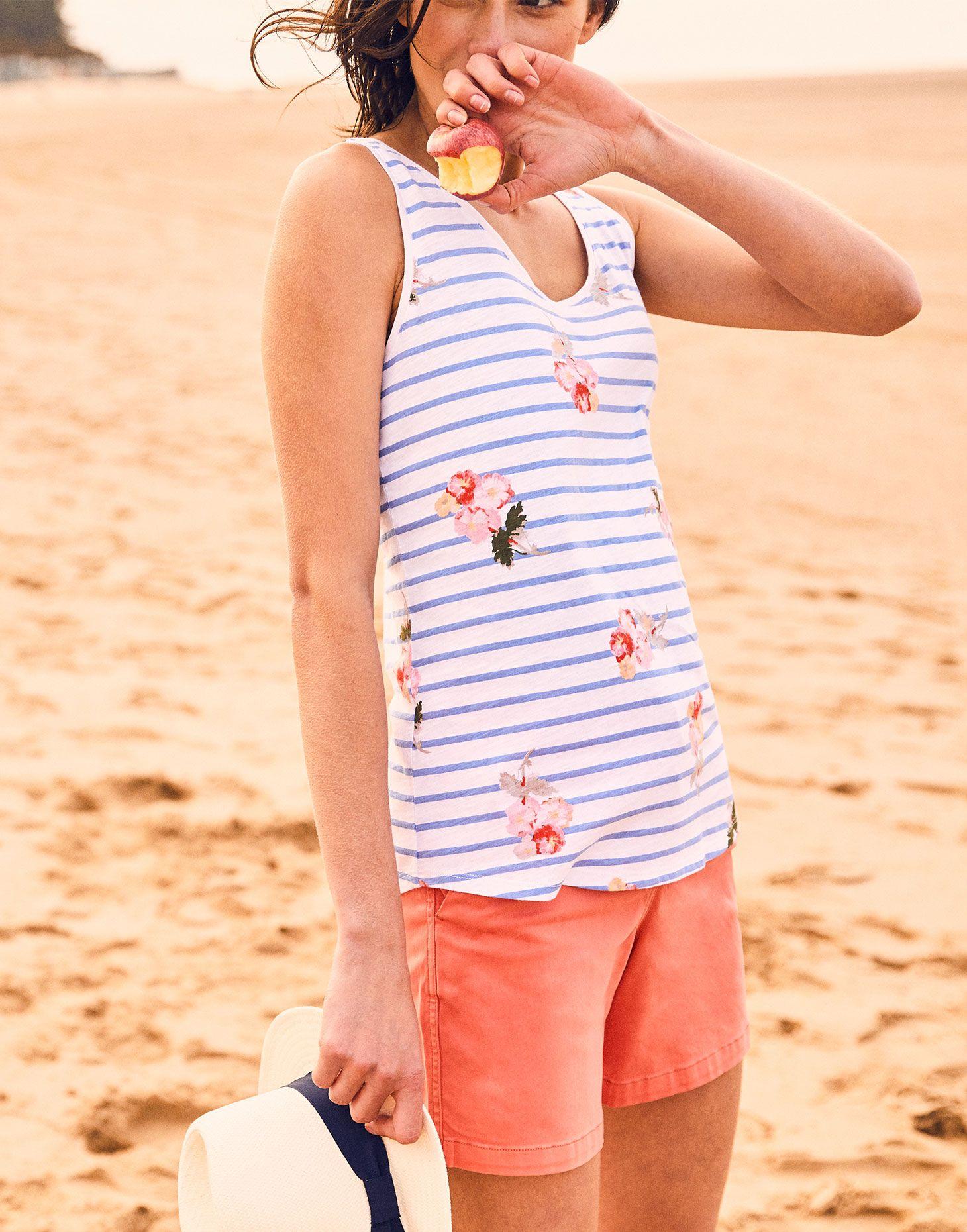 Joules Womens Boprint Curved Hem Classic Casual Summer Vest
