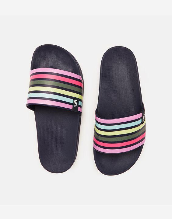 Joules Womens Poolside Printed Sliders - Multi Coloured Stripe