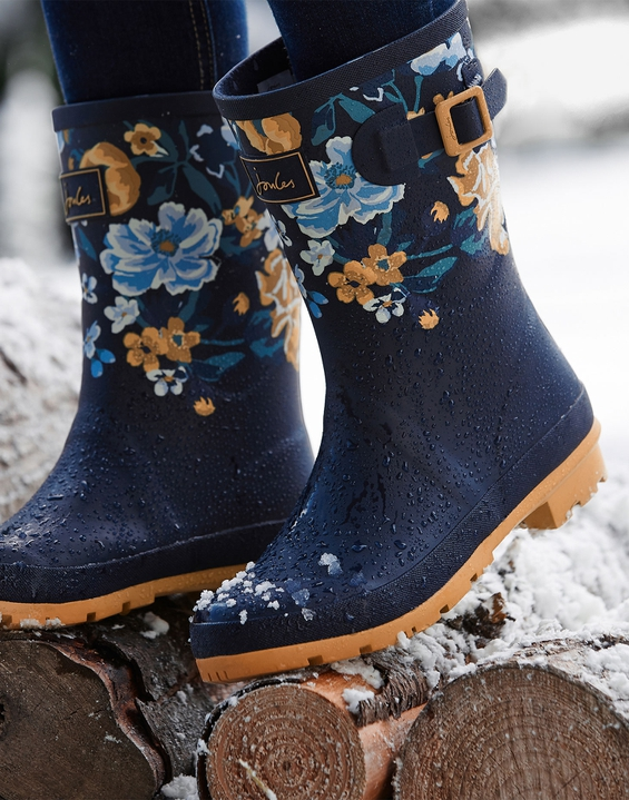 Joules UK Molly Womens Mid Height Printed Wellies NAVY BOTANICAL