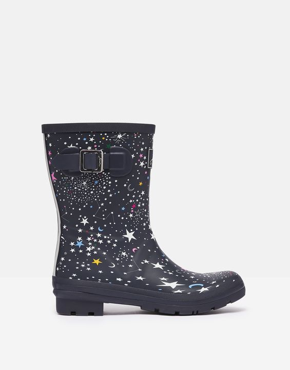 Joules Womens Molly Mid Height Printed Rain Boots - Navy Stars