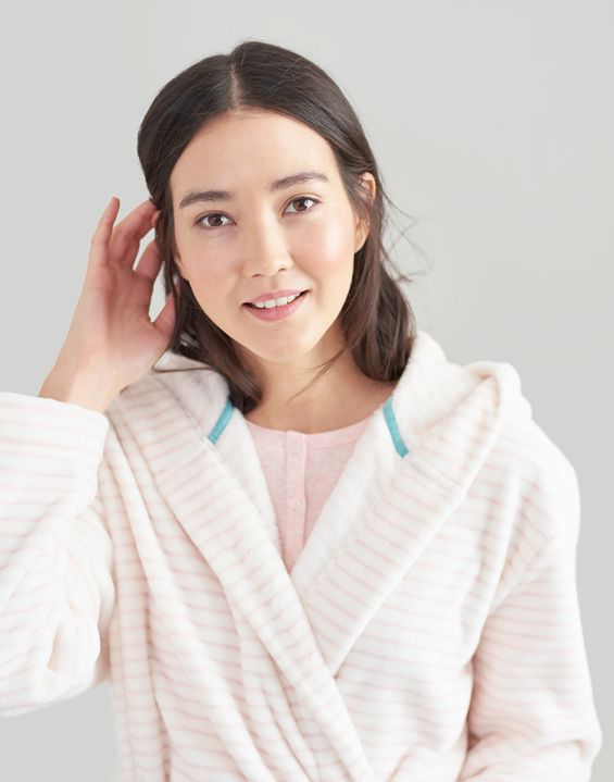 Rita Stripe Fluffy Dressing Gown 18f4029a5