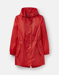 Joules UK Golightly Plain Womens Waterproof Pack Away Jacket RED