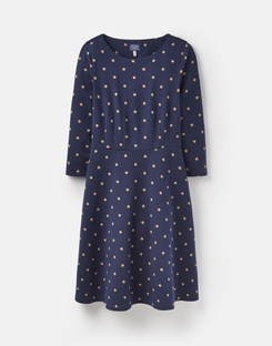 Joules US SHAYPRINT Womens Long sleeve waisted jersey dress FRENCH NAVY CORN SPOT