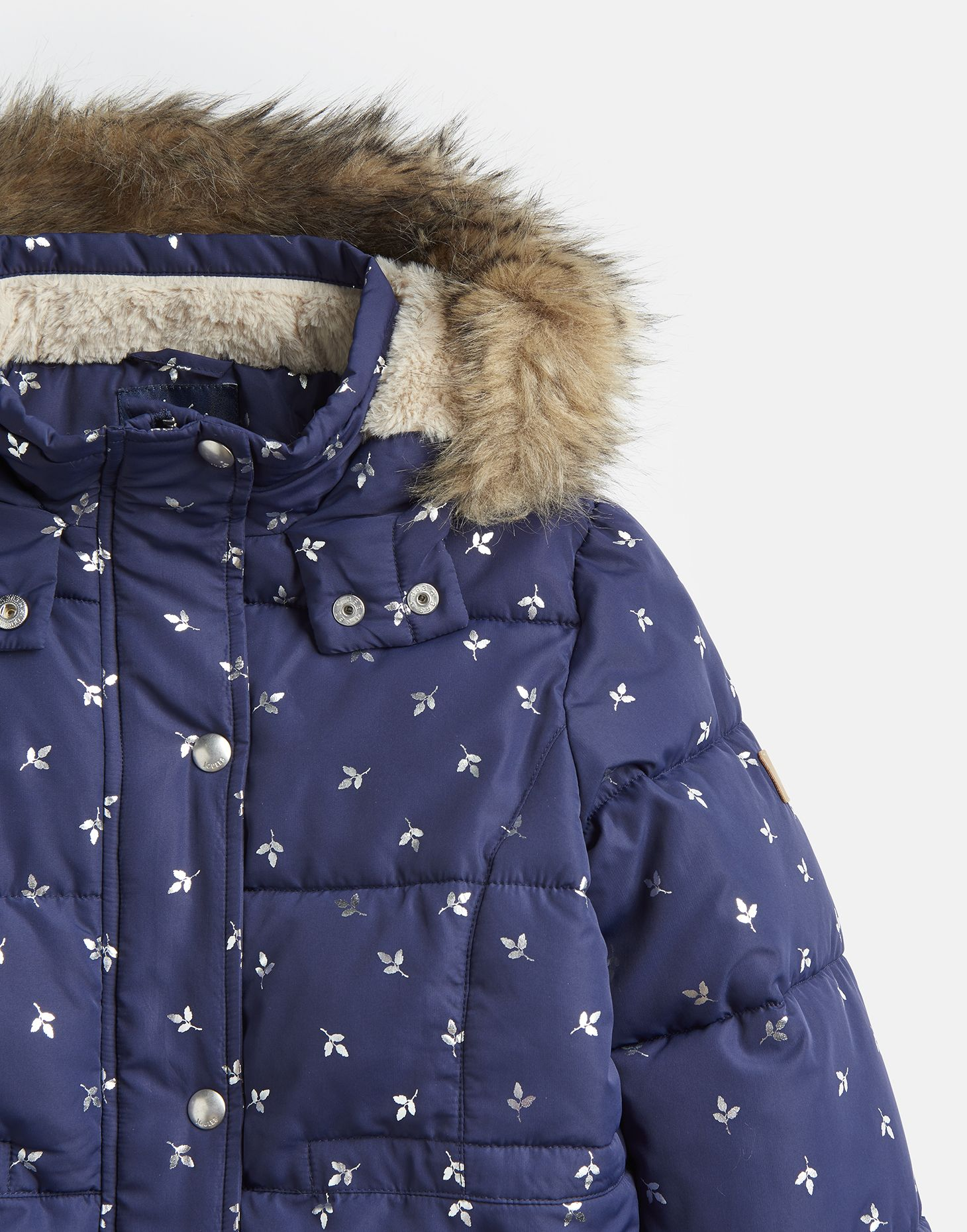 Details about Joules Girls Stella Faux Fur Lined Padded Coat 1 12 Years in NAVY SILVER LEAF
