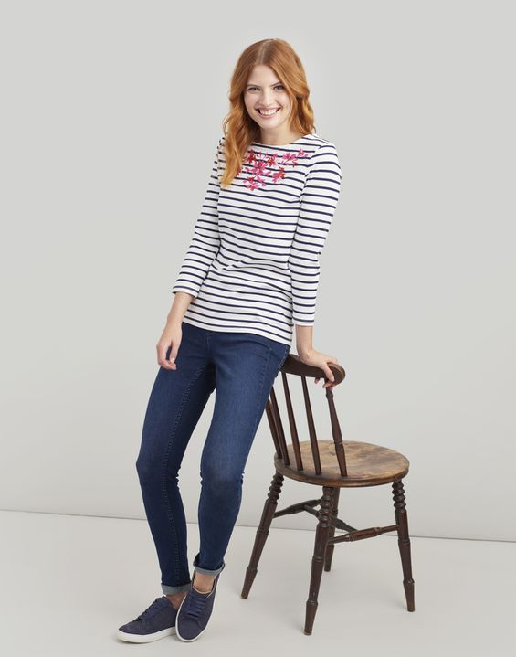 Joules US Harbour Embroidered Womens Jersey Top CREAM NAVY STRIPE