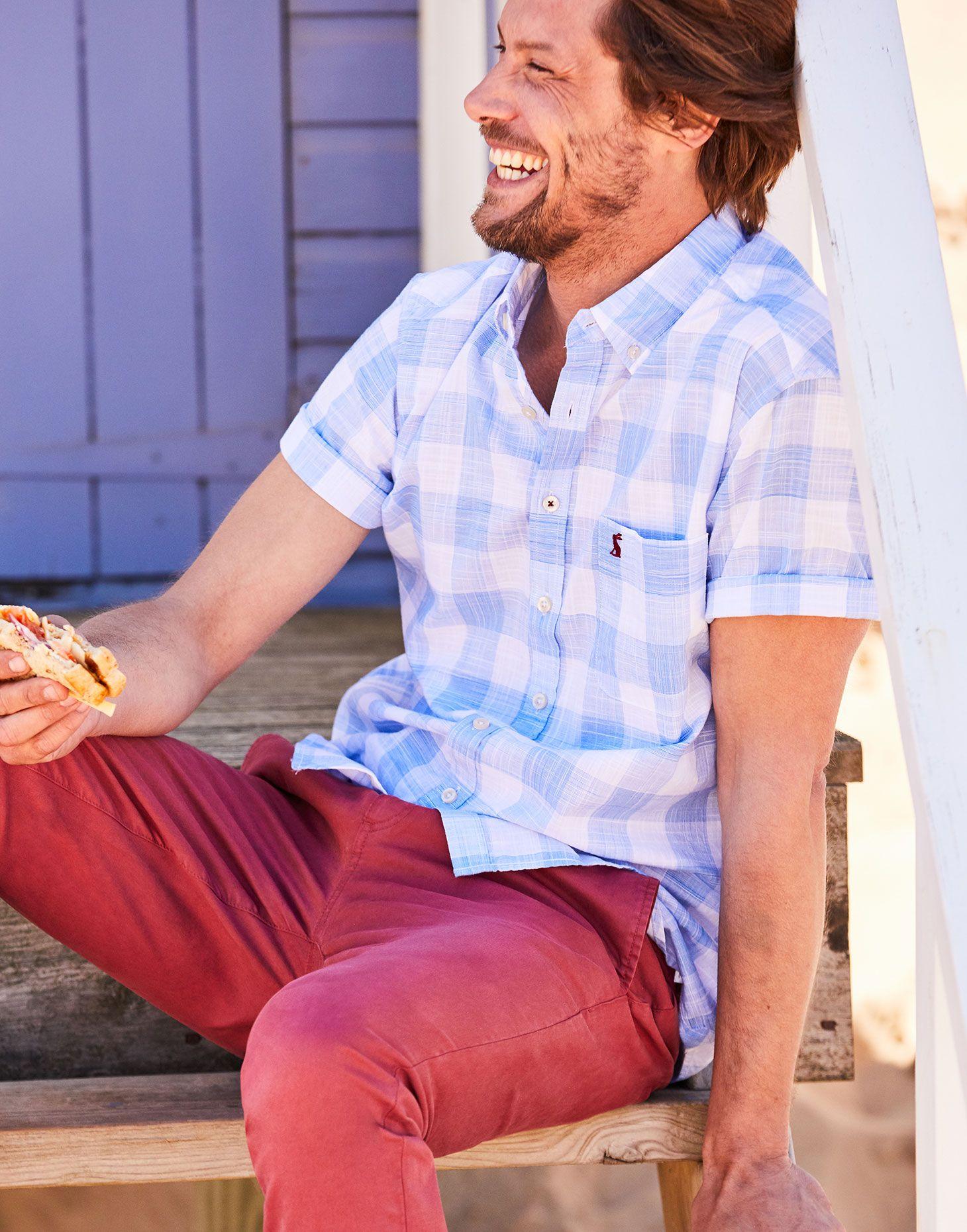Joules Odr LUKE Short Sleeve Shirt Blue Check