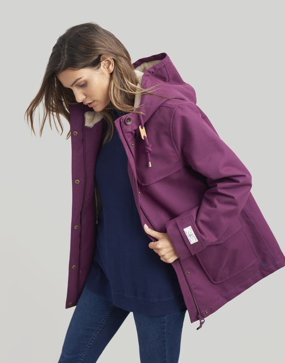 837cbf7a82d Joules UK Coast Cosy Womens Sherpa Fleece-Lined Waterproof Jacket ...