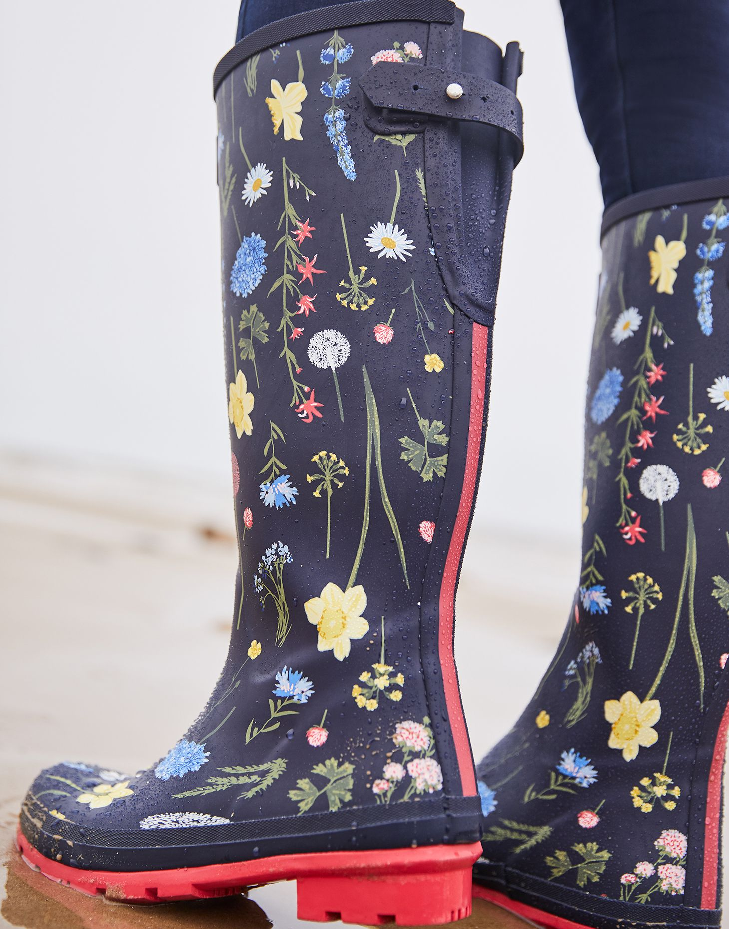 Joules Welly Print Womens Rubber Long Wellington Boots In Black Size UK 3-8
