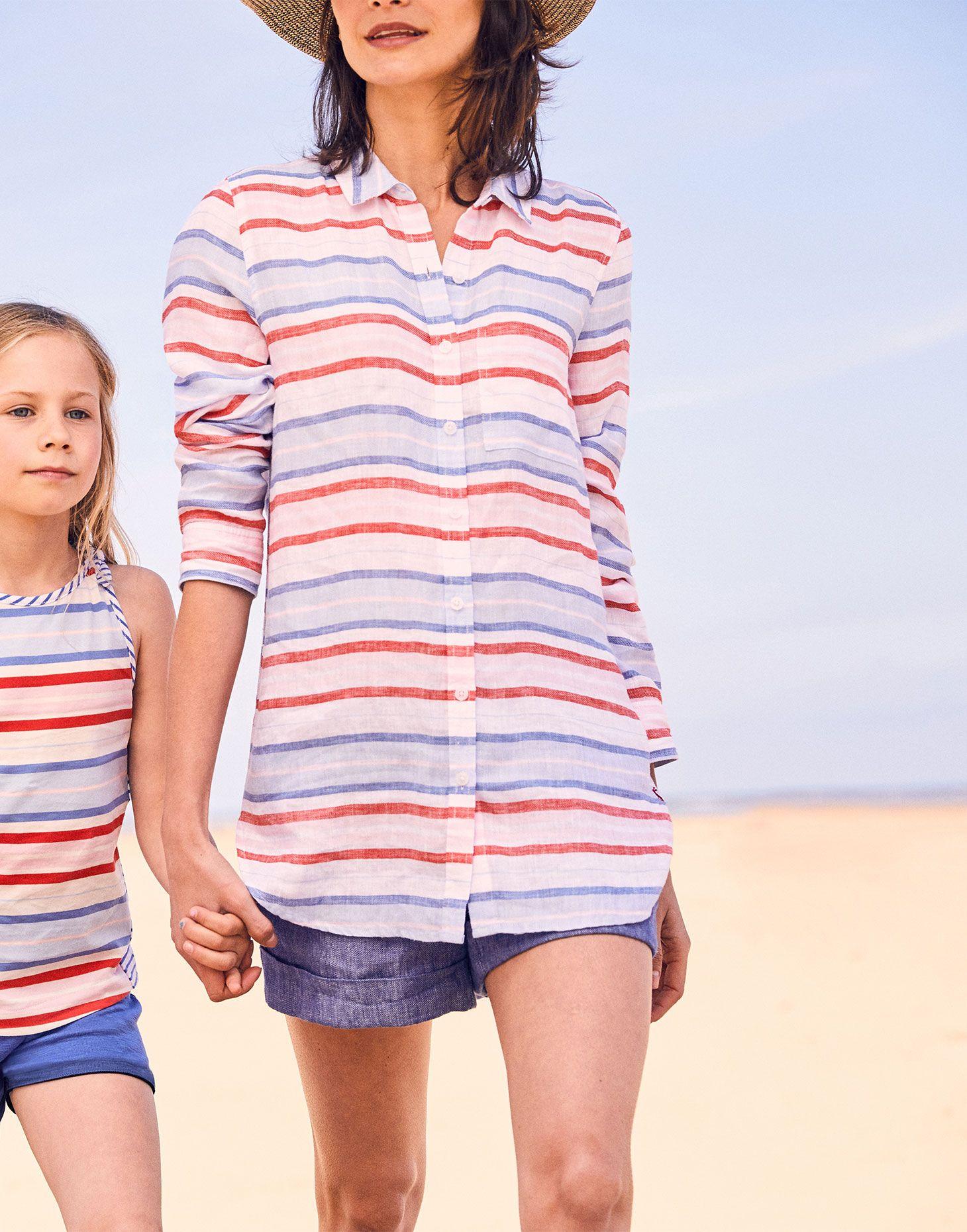 921d325f2 Jeanne print RED MULTI STRIPE Longline Linen Shirt | Joules UK