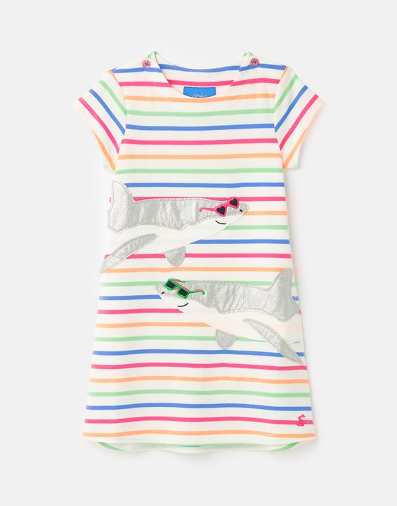 Joules Girls Kaye Short Sleeve Applique Dress 1-6 Years - Multi Stripe Shark