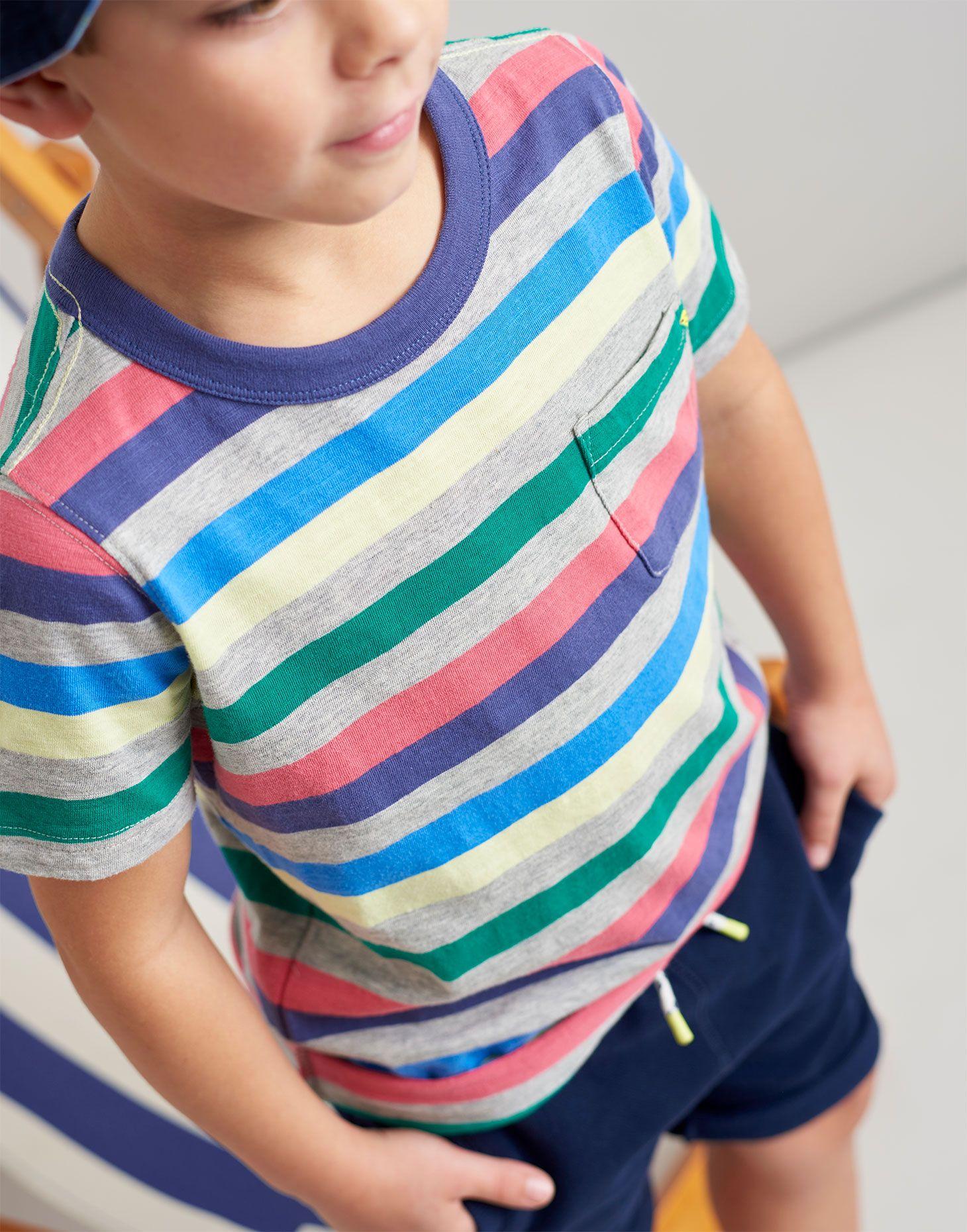 43920b9e52f Caspian GREY MARL MULTI STRIPE Stripe T-Shirt 3-12 Yr | Joules US