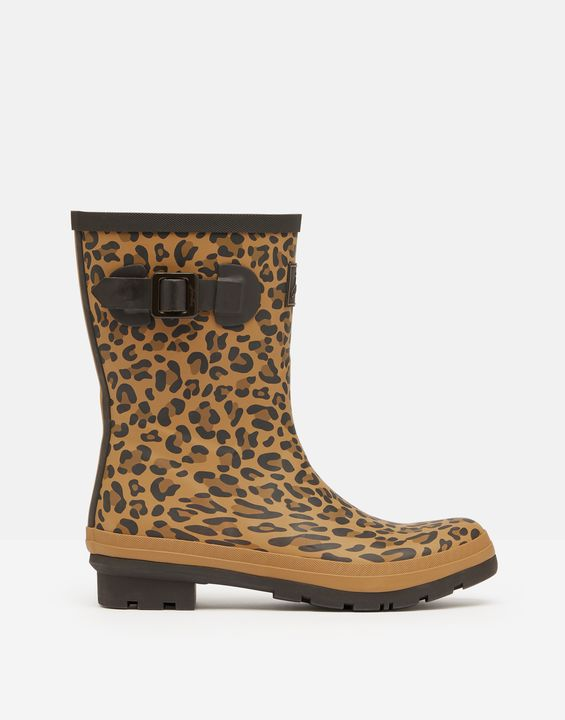 Joules Womens Molly Mid Height Rain Boots - Tan Leopard