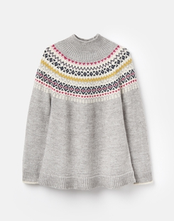 Joules US KRISTY Womens Fair Isle Jumper GREY FAIRISLE