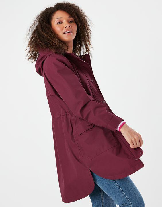 Joules Womens Loxley Longline Waterproof Jacket - Dark Purple
