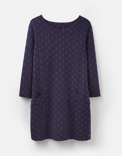 Joules UK RHONA Womens tunic with seams NAVY PINK DITSY JACQUARD