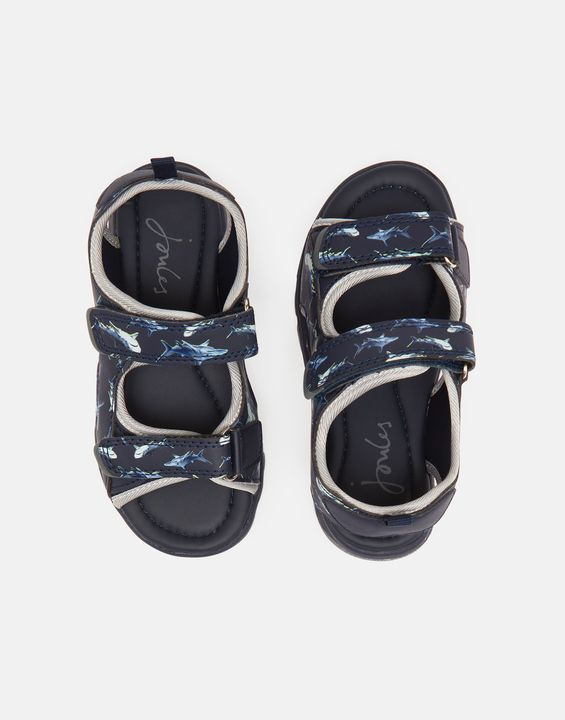 Joules Boys Rockwell Printed Sandal With Velcro Fastening - Navy Lime Shark