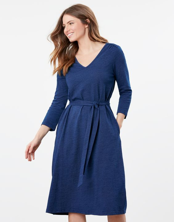 Joules Womens Ariella 3/4 Length Sleeve Midi Jersey Dress - Blue