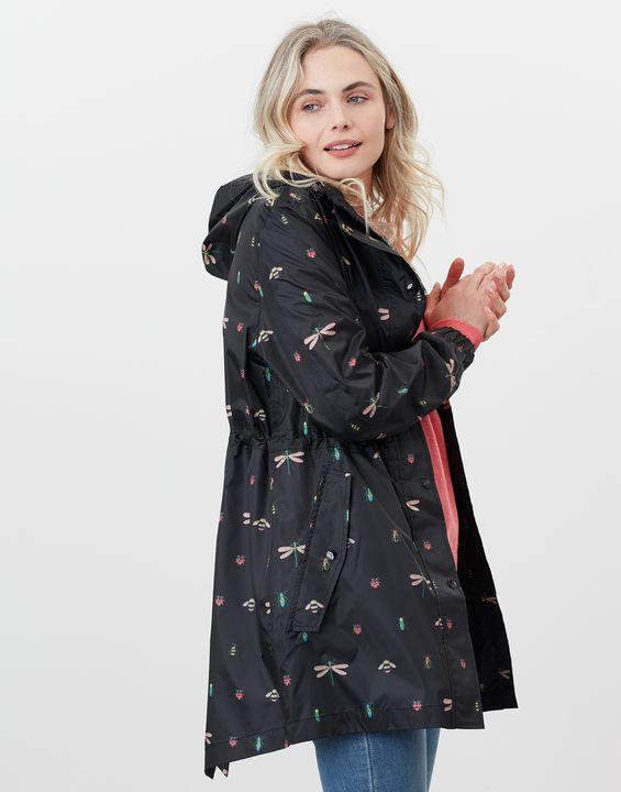 Joules Womens Golightly Printed Waterproof Packaway Jacket - Black Bugs