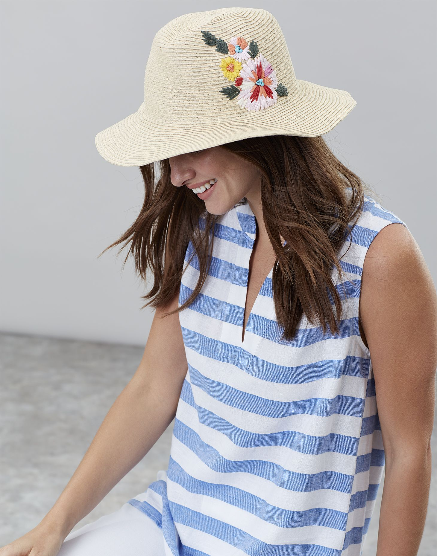 9bf6210d Dora floral null Embroidered Sun Hat , Size One Size | Joules US